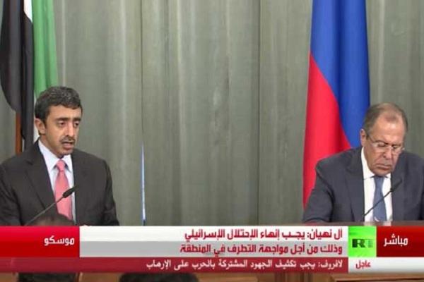 لافروف وعبدالله بن زايد خلال مؤتمرهما الصحفي
