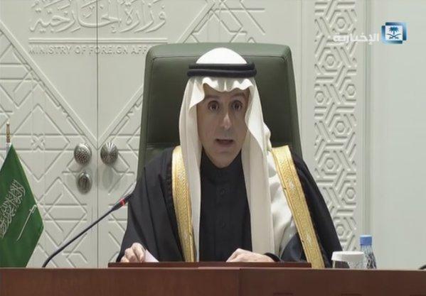 وزير الخارجية السعودي عادل الجبير خلال المؤتمر الصحافي بالرياض