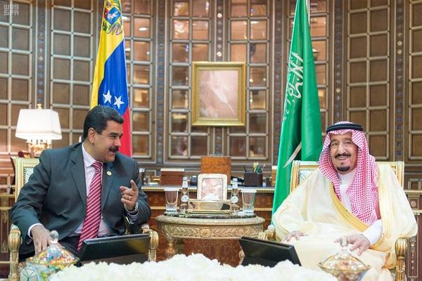 الملك سلمان والرئيس نيكولاس مادورو موروس خلال جلسة المباحثات