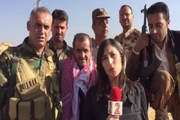مراسلة القناة الاسرائيلية الثانية بين عسكريي قوات البيشمركة في معركة الموصل