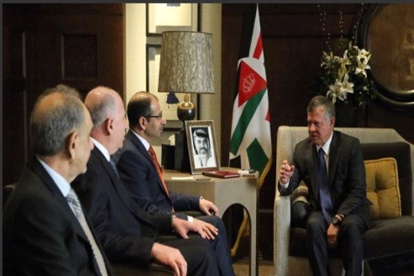 الجبوري والنجيفي والمطلك خلال اجتماعهم في عمان اليوم مع الملك عبد الله