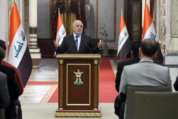 العبادي خلال مؤتمر صحافي في بغداد