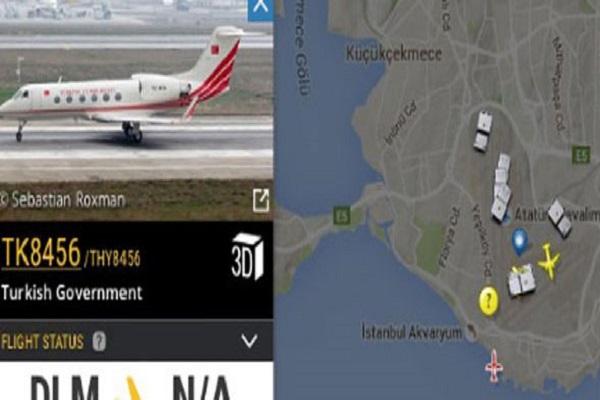 طائرة خاصة في مطار أتاتورك قيل انها طائرة اردوغان