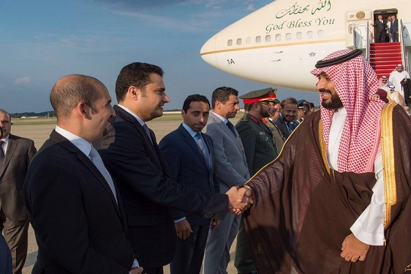 الأمير محمد بن سلمان لحظة وصوله واشنطن