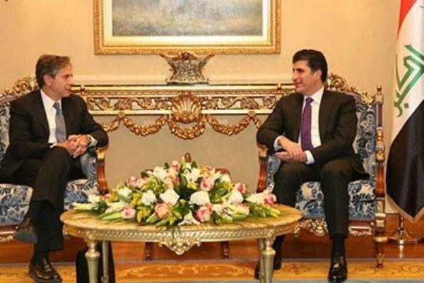 بلينكن مجتمعا في أربيل مع رئيس حكومة اقليم كردستان نجيرفان بارزاني