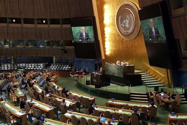 العبادي خلال القاء كلمته امام الجمعية العامة للامم المتحدة بنيويورك