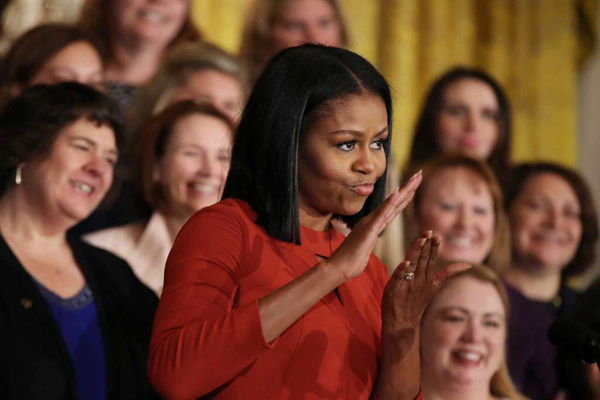ميشيل أوباما أثناء ألقائها خطابها الأخير كسيدة أولى