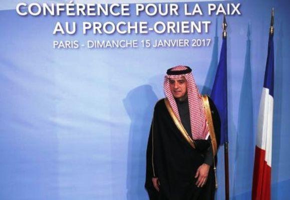 عادل الجبير خلال مشاركته في مؤتمر باريس للسلام بين إسرائيل والفلسطينيين