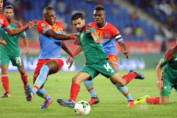 من مباراة المنتخب المغربي لكرة القدم ونظيره لجمهورية الكونغو الديمقراطية