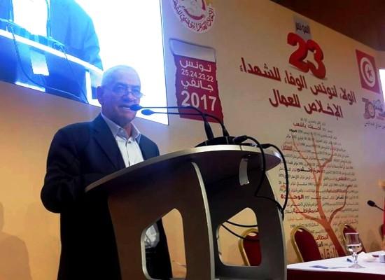 حسين العباسي الأمين العام المتخلي يلقي خطاب الوداع أمام المؤتمرين