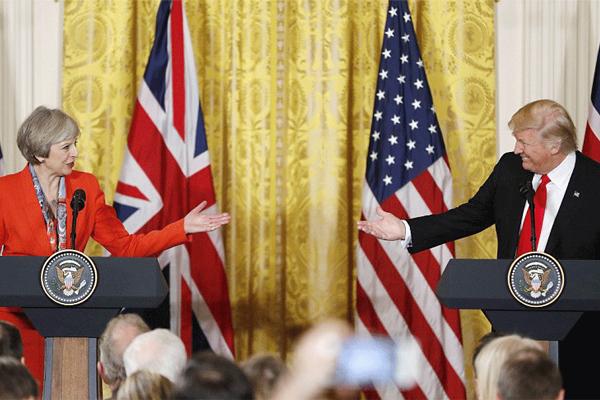 ترامب وماي خلال مؤتمرهما الصحفي المشترك