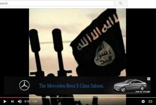 صورة تبين ظهور اعلان لمرسيديس على محتوى متطرف يدعم تنظيم