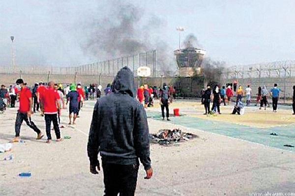 جانب من أحداث شغب في سجن جو في وقت سابق