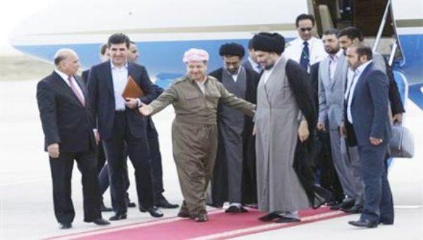بارزاني والصدر خلال لقاء سابق في أربيل
