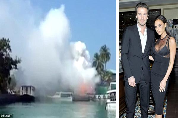 بيكهام وزوجته فيكتوريا تحولت اجازتهما إلى جحيم بعد انفجار ضخم لألعاب نارية