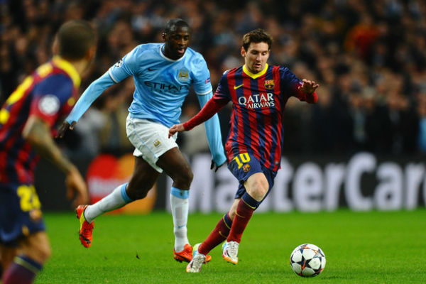 ميسي في مباراة بين برشلونة ومانشستر سيتي