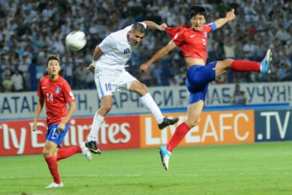 مباراة سابقة بين كوريا الجنوبية وأوزبكستان