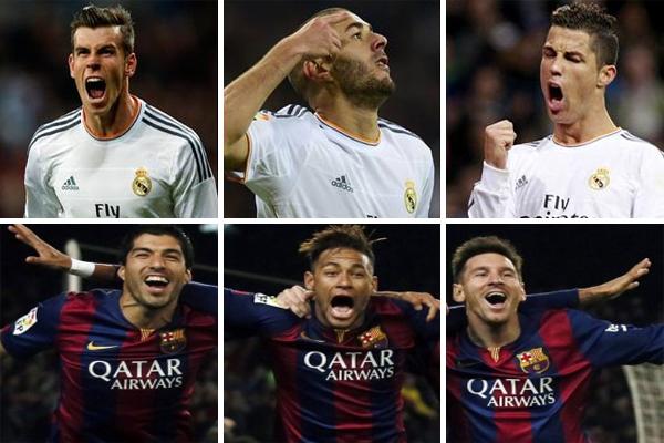 ثلاثي هجوم برشلونة يتفوق على نظيره ريال مدريد في 2015