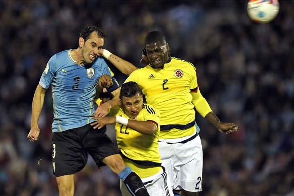 من مباراة الأوروغواي وكولومبيا