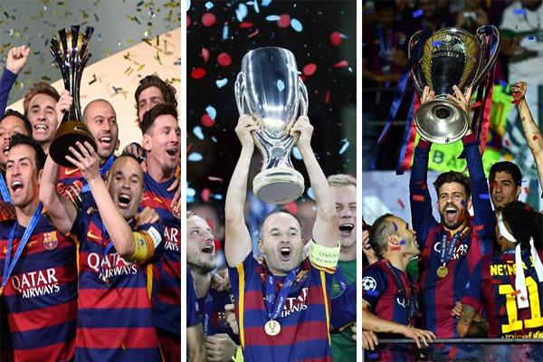 برشلونة حقق لقبين على الصعيد الأوروبي ولقب على الصعيد الدولي في عام 2015