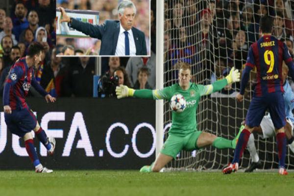 ميسي في مباراة برشلونة ومانشستر سيتي وفي الإطار كارلو أنشيلوتي