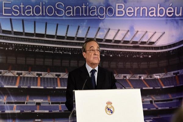 فلورنتينو بيريز رئيس نادي ريال مدريد الاسباني خلال المؤتمر الصحفي