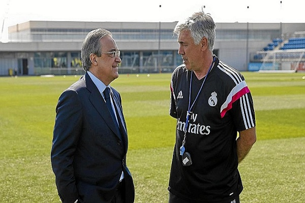 الإيطالي كارلو أنشيلوتي رفقة رئيس ريال مدريد
