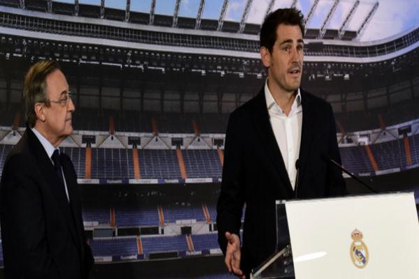 كاسياس وبرفقته رئيس ريال مدريد فلورنتينو بيريز