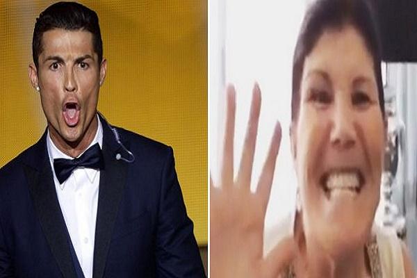 والدة رونالدو تقلد صرخة كريستيانو الشهيرة