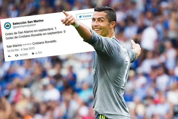 كريستيانو رونالدو يحتفل بأحد أهدافه في شباك إسبانيول ويرد على تغريدة سان مارينو