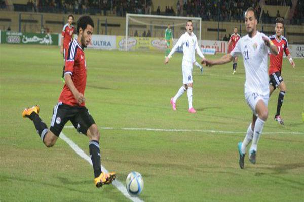 من مباراة مصر والأردن الودية