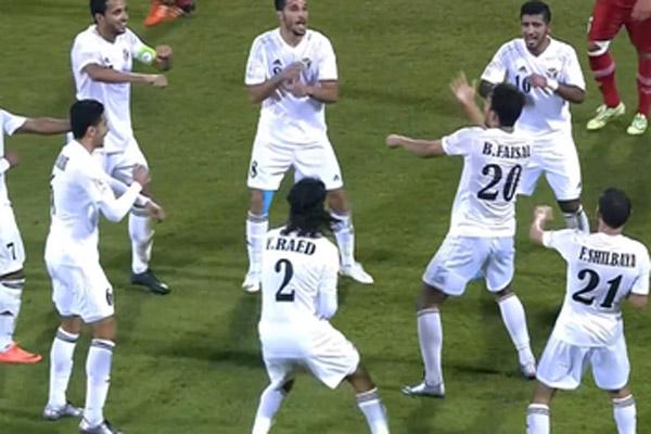 فرحة نجوم منتخب الأردن بأحد الأهداف