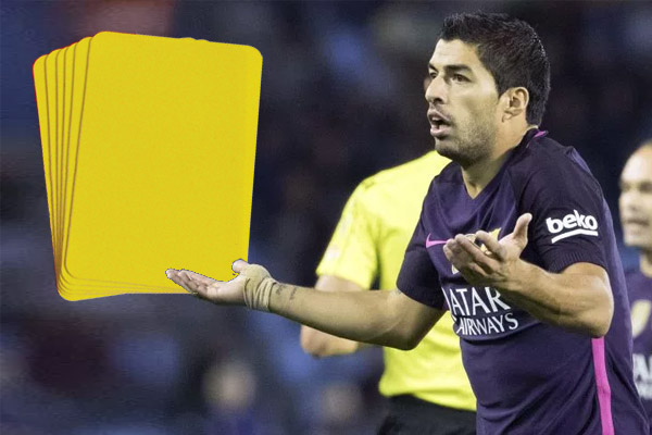 لويس سوريز نال 4 بطاقات صفراء حتى الآن