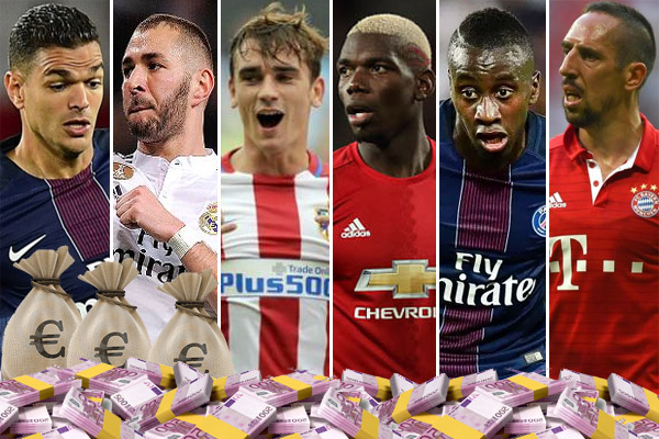 يُلاحظ على قائمة الـ 10 الأوائل تواجد 8 لاعبين ينشطون خارج فرنسا