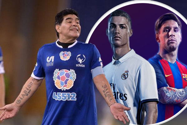 رفض دييغو مارادونا المقارنة بين النجمين العالميين مواطنه ليونيل والبرتغالي وكريستيانو رونالدو