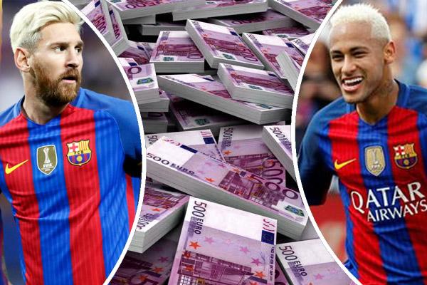 راتب نيمار في عقده الجديد مع نادي برشلونة قد يتجاوز ما يتقاضاه حالياً زميله في الفريق ليونيل ميسي