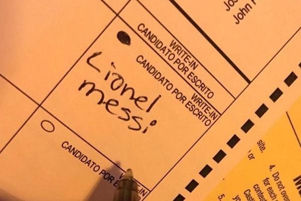 ناخب يصوت لصالح #ميسي في انتخابات الرئاسة الأميركية