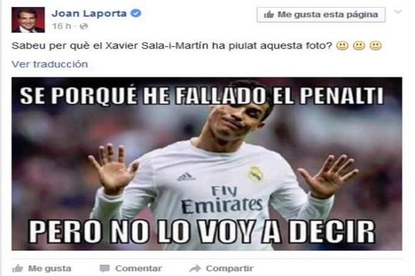 تغريدة خوان لابورتا، رئيس نادي برشلونة الإسباني السابق