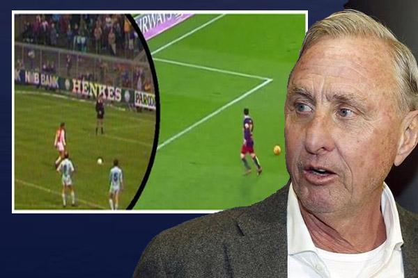 أسطورة كرة القدم الهولندية يوهان كرويف سعيد بتقليد ميسي للحركة التي قام بها