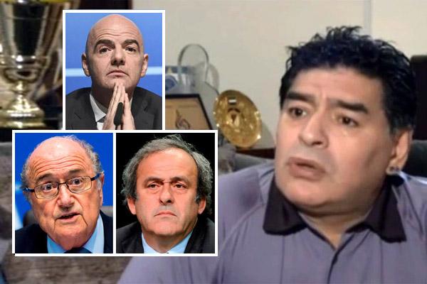مارادونا يوجه سهام انتقاده إلى إنفانتينو وبلاتر وبلاتيني