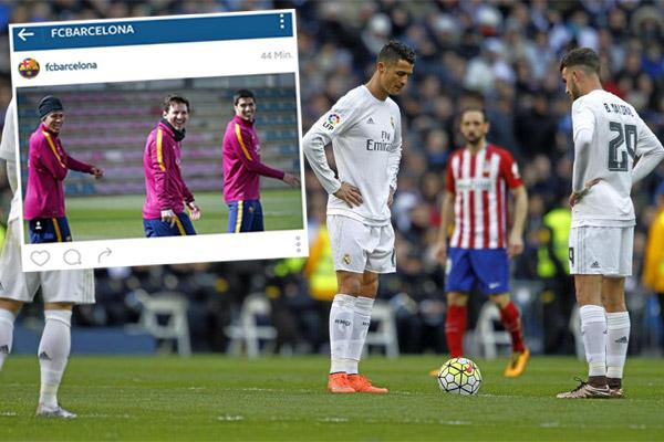 برشلونة يسخر من غريمه الريال بصورة ضاحكة لـ
