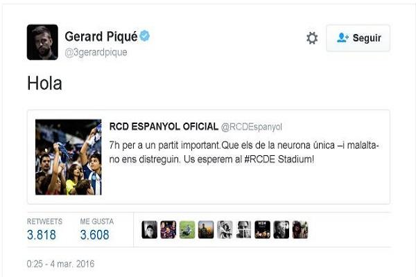 نادي اسبانيول يرد على تغريدة بيكيه المستفزة