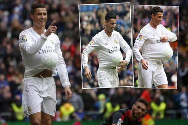 رونالدو احتفل بوضع الكرة تحت قميصه