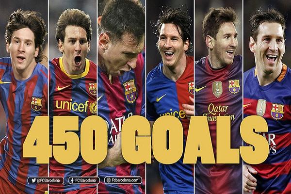 ميسي يبلغ سقف 450 هدفاً بقميص برشلونة