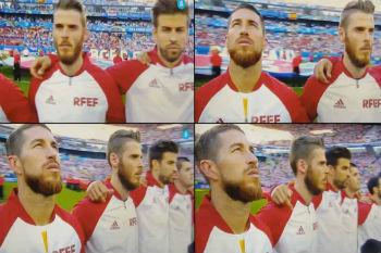بيكيه يثير جدلاً واسعاً أثناء عزف النشيد الوطني لإسبانيا