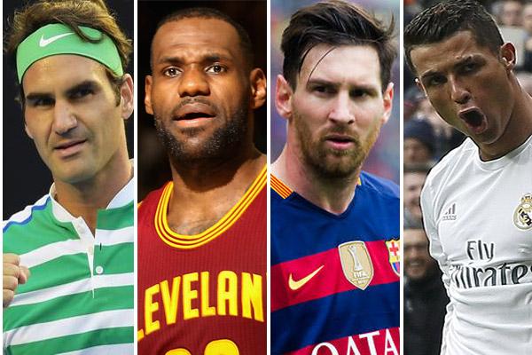 رونالدو وميسي وجيمس وفيدرر تصدروا قائمة الرياضيين الأغنى في العالم