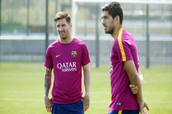 ميسي ولويس سواريز في تدريبات برشلونة