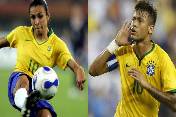 النجم البرازيلي نيمار ومواطنته المتألقة مرتا