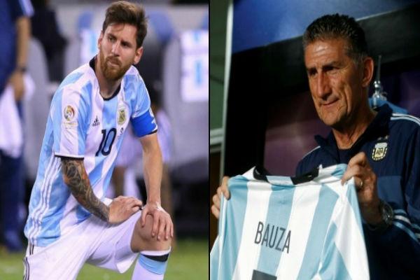 مدرب المنتخب الأرجنتيني الجديد إدغاردو بوزا ومواطنه ميسي