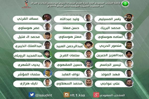 قائمة المنتخب السعودي استعدادا لتصفيات المونديال